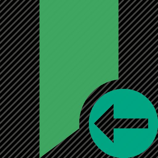 book, bookmark, favorite, green, previous, tag icon