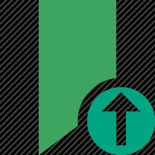 book, bookmark, favorite, green, tag, upload icon