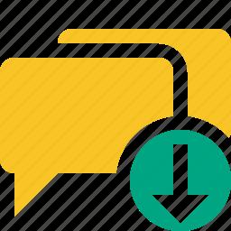 bubble, chat, communication, download, message, talk icon
