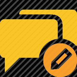 bubble, chat, communication, edit, message, talk icon