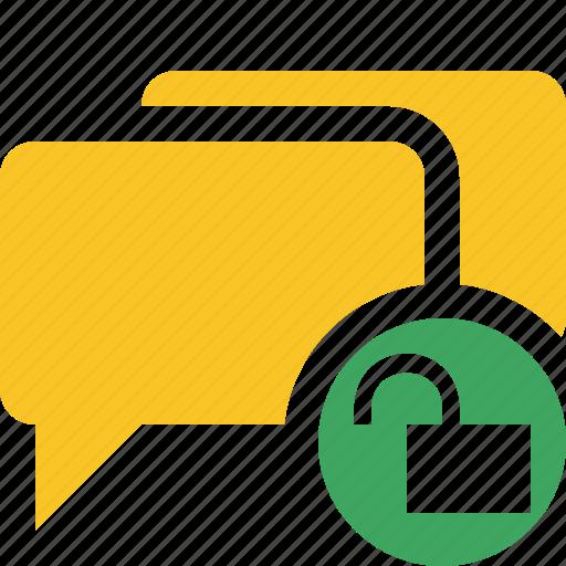 bubble, chat, communication, message, talk, unlock icon