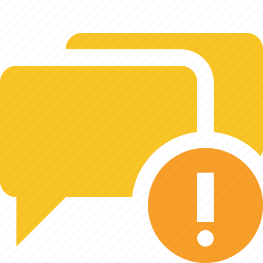 bubble, chat, communication, message, talk, warning icon