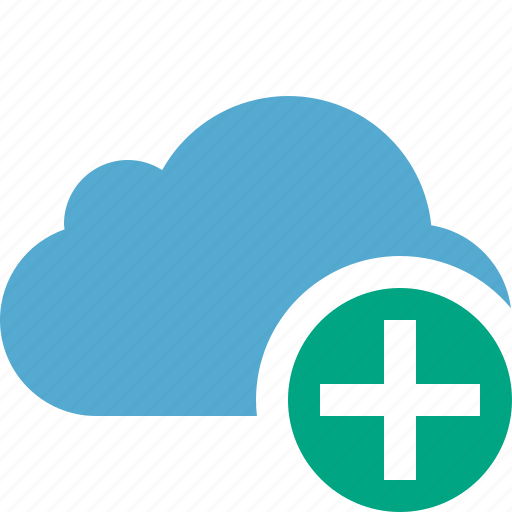 add, blue, cloud, network, storage, weather icon