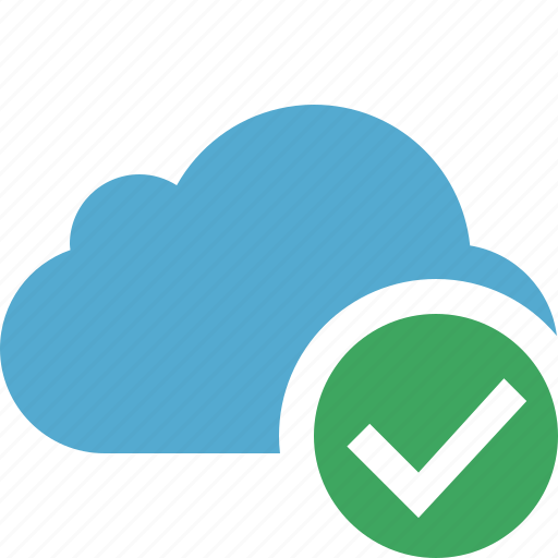 blue, cloud, network, ok, storage, weather icon