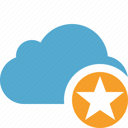 blue, cloud, network, star, storage, weather icon