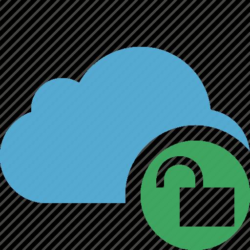 blue, cloud, network, storage, unlock, weather icon