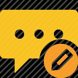 bubble, chat, comment, edit, message, talk icon