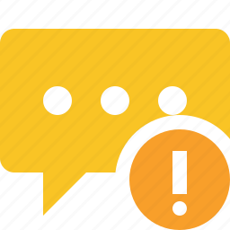 bubble, chat, comment, message, talk, warning icon