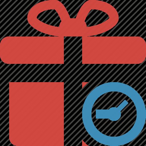box, christmas, clock, gift, present, xmas icon