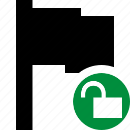 flag, location, marker, pin, point, unlock icon
