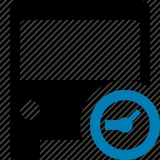 bus, clock, public, transport, transportation, travel, vehicle icon
