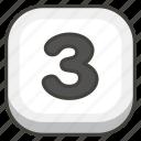 3, keycap icon