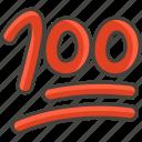 1f4af, hundred, points icon
