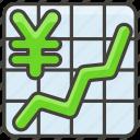 1f4b9, chart, increasing, with, yen icon