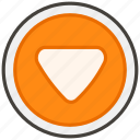 1f53d, b, button, downwards icon