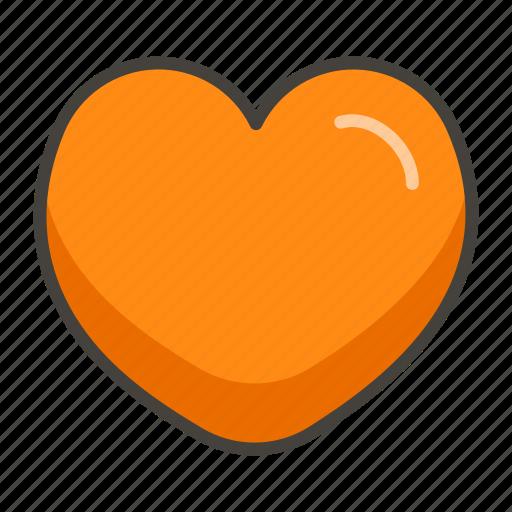 1f9e1, heart, orange icon