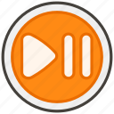 23ef, b, button, or, pause, play icon