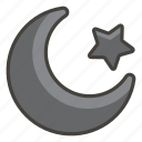 262a, a, and, crescent, star icon