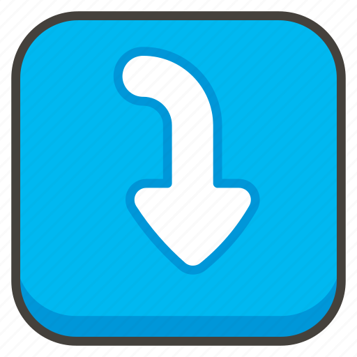 arrow, curving, down, right icon