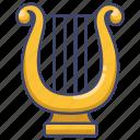 instrument, lyre, music icon