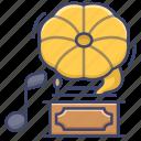 band, gramophone, music, song icon