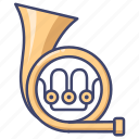 french, horn, instrument, trumpet icon