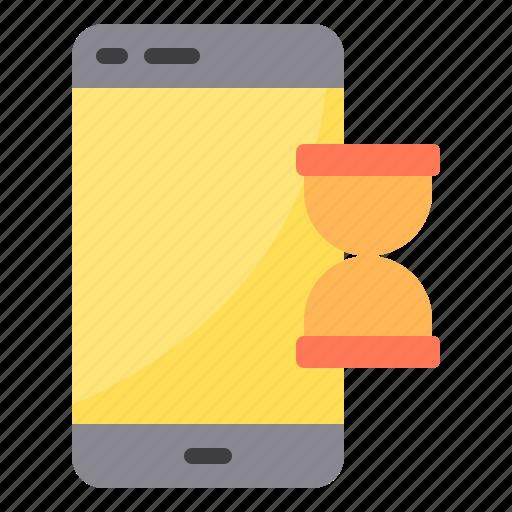 data, exchange, smartphone, sync, transfer, waiting icon