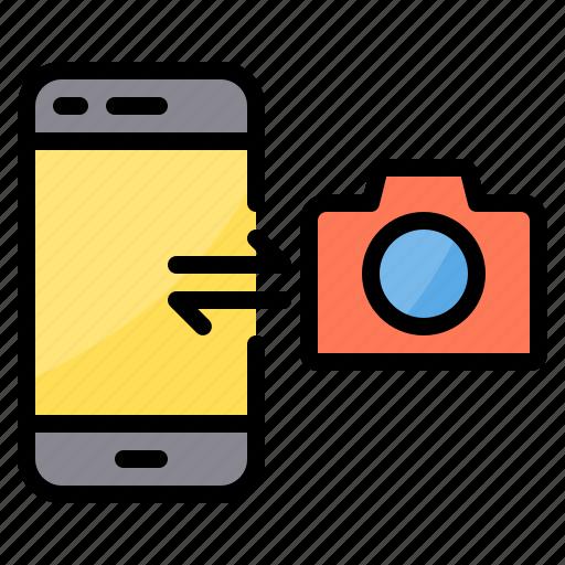 data, exchange, image, smartphone, sync, transfer icon