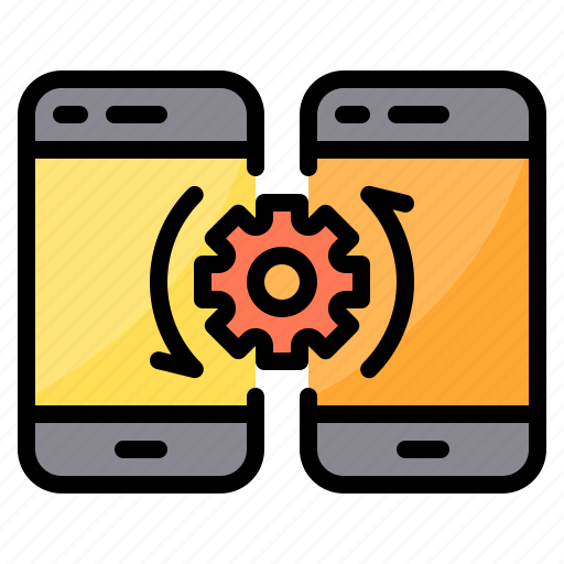 data, exchange, setting, smartphone, transfer icon