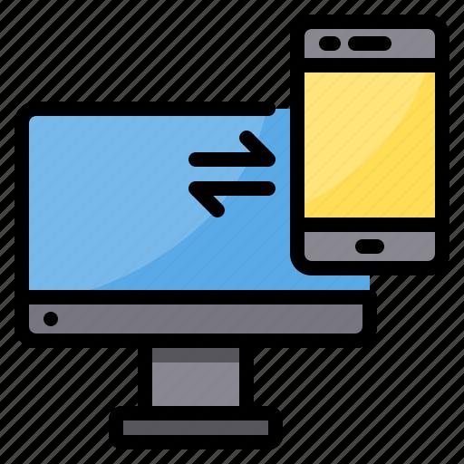 exchange, pc, smartphone, sync, transfer icon