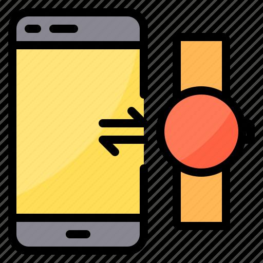 exchange, smartphone, smartwatch, sync, transfer icon