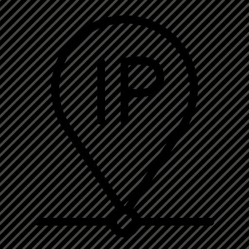 ip, location, pin, pointer icon
