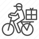 cap, courier, box, human, bike, delivery, man