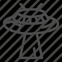 invasion, head, spaceship, alien, light, antenna, levitation icon