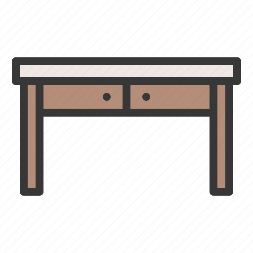 chair, desk, drawer, furniture, interior, table icon