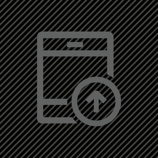 arrow, ipad, tablet, up, upload icon