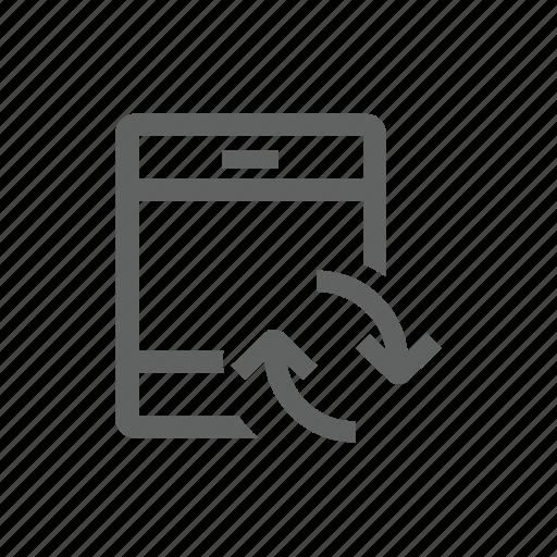 arrow, ipad, sync, synchronize, tablet, update icon