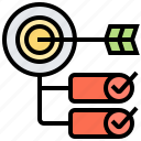 cascading, goals, objectives, plan, target icon