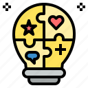 bulb, creative, idea, knowledge, light, opinion, skill icon
