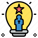 bulb, genius, idea, light, skill, star, talent icon