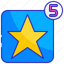 best, five, quality, rating, service, star, success icon