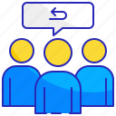 communication, feedback, group, people, review, speech, team icon