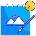 art, book, design, goal, progress, sketch, time icon