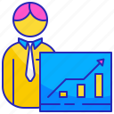 business, businessman, employee, people, presentation, training, worker icon