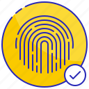 access, digital, fingerprint, granted, protection, security, technology icon