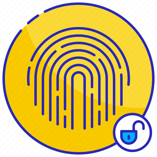 access, digital, fingerprint, protection, security, technology, unlocked icon