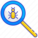 bug, computer, glass, magnifying, search, security, virus