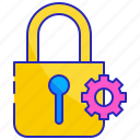 computer, gear, lock, protection, security, settings, technology icon