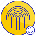 again, circle, fingerprint, identification, print, restart, touch icon