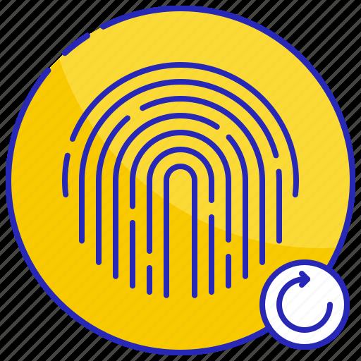 again, circle, fingerprint, identification, print, restart, touch icon